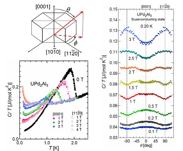 六方晶の結晶構造(左図上)を持つ重い電子系反強磁性超伝導体UPd2Al3における極低温比熱の温度依存性(左図下)、および超伝導状態における各磁場下での比熱の極角(θ)依存性。超伝導ギャップ構造を反映した比熱振動が観測された。