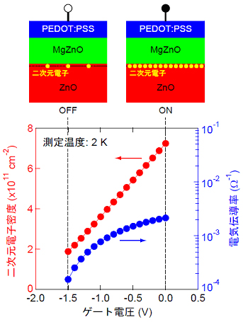 Figure:(Top) Cross-sectional device structure of a transistor composed of  MgZnO/ZnO heterostructure and a conducting polymer PEDOT:PSS.   (Bottom) Gate bias dependence of the conductivity and the density of  two-dimensional electron at the MgZnO/ZnO interface.