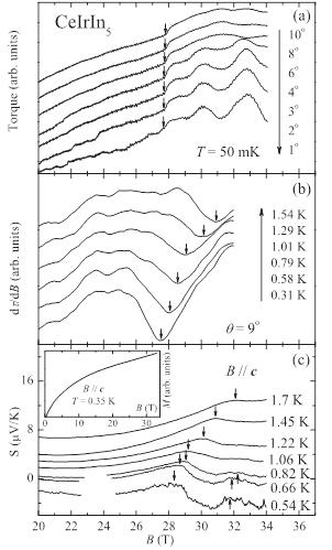 強磁場中の磁気トルク、熱電能で観測されたCeIrIn5のフェルミ面の変化